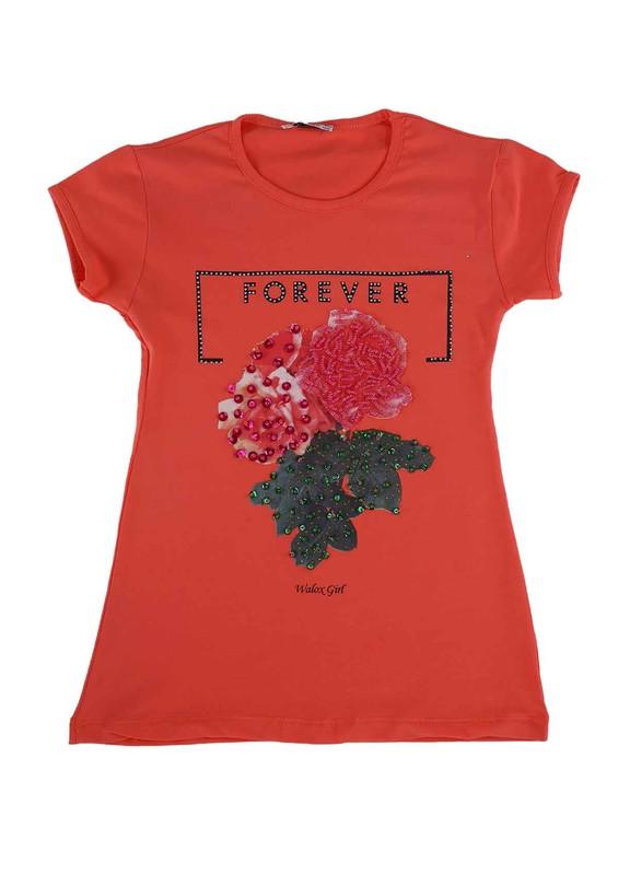 WALOX - Taş Süslemeli Çocuk T-Shirt 4008 | Nar Çiçeği