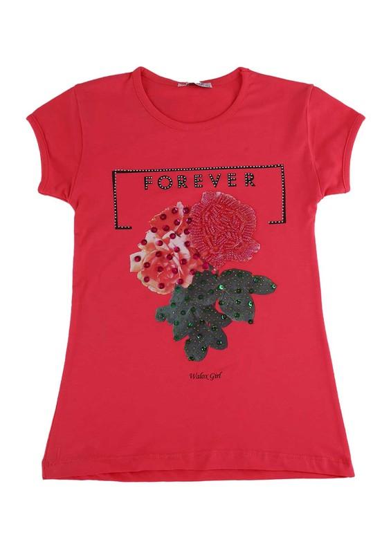 WALOX - Taş Süslemeli Çocuk T-Shirt 4008 | Pembe