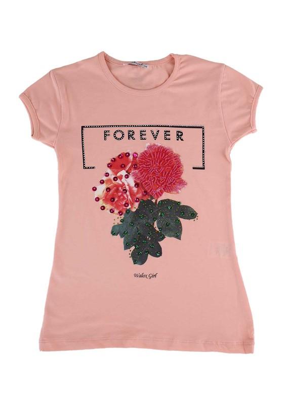WALOX - Taş Süslemeli Çocuk T-Shirt 4008   Somon