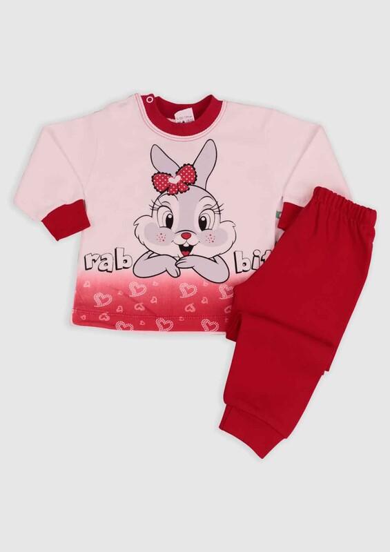 BİLKON - Tavşan Baskılı Bebek 2'li Takım | Kırmızı