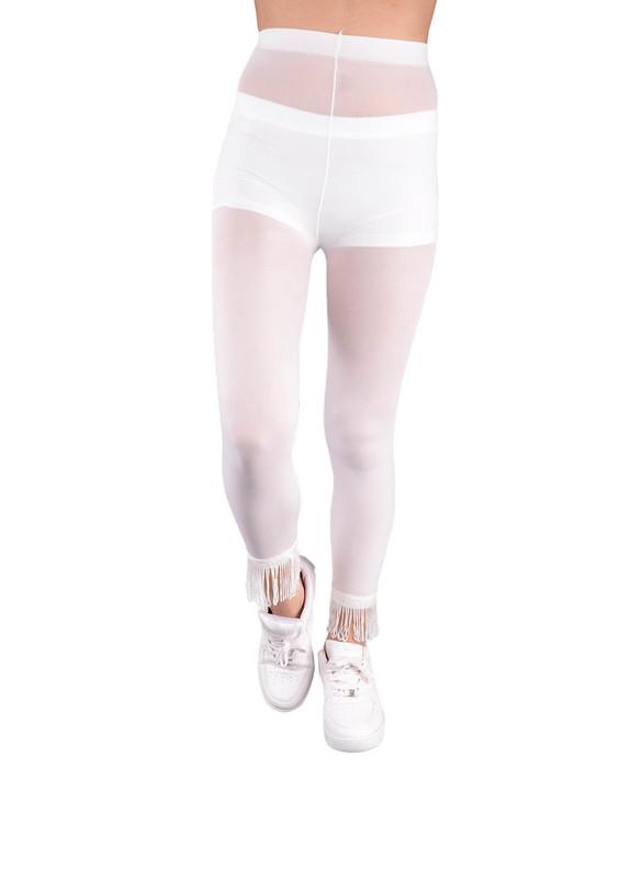VOG - Paçası Püsküllü Tayt Külotlu Çorap 773 | Beyaz