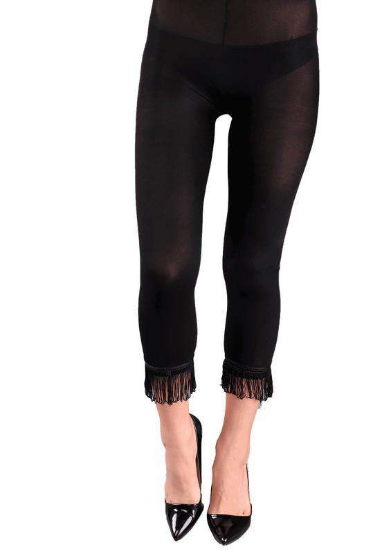 VOG - Paçası Püsküllü Tayt Külotlu Çorap 773 | Siyah