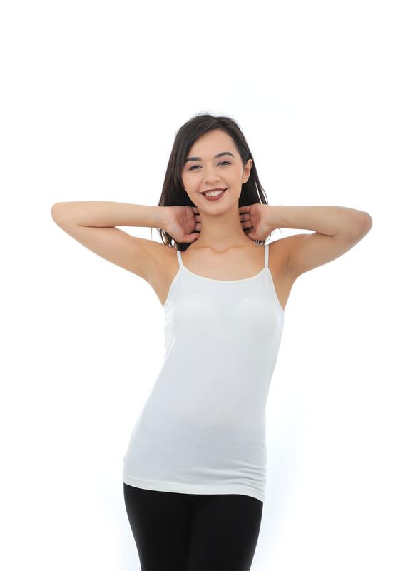 TUTKU - Tutku Elastan İp Askılı Kadın Atlet 146 | Ekru