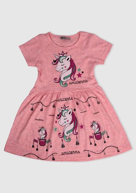 PAPİ KİDS - Unicorn Baskılı Kız Çocuk Elbise 002 | Pembe