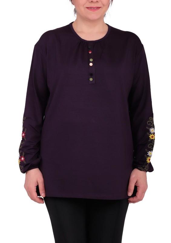 ASMİN - Uzun Kollu Kolları Çiçekli Bluz 2829 | Mor