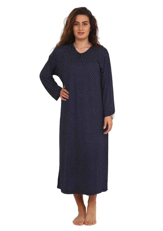 STAR CITY - V Yakalı Uzun Kollu Puantiyeli Elbise 036 | Lacivert Beyaz