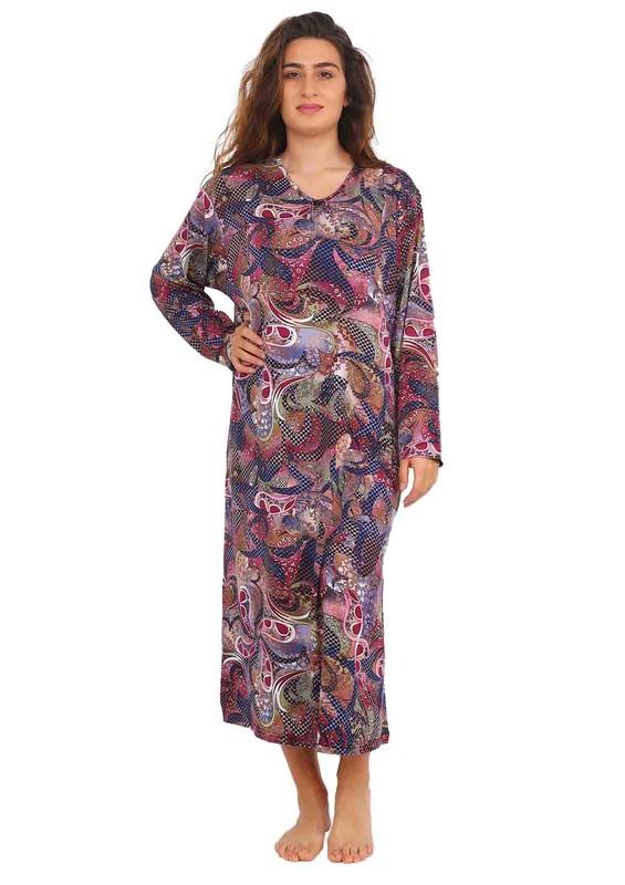 STAR CITY - V Yakalı Uzun Kollu Puantiyeli Elbise 036 | Mürdüm