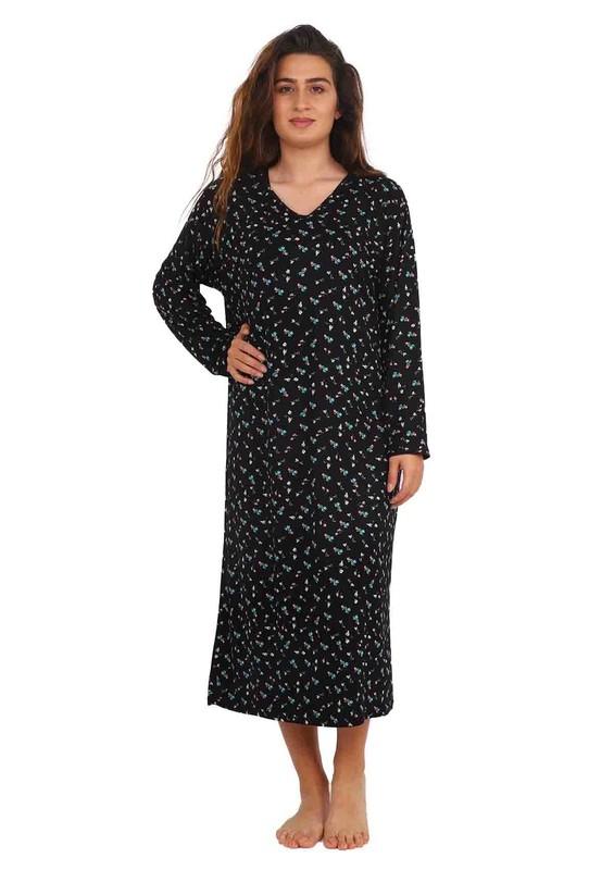 STAR CITY - V Yakalı Uzun Kollu Puantiyeli Elbise 036   Siyah