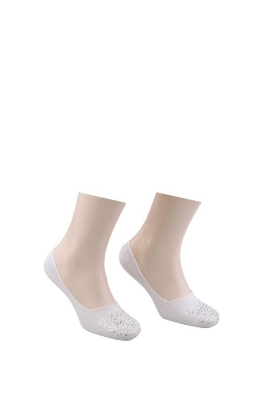 VİP - Vip Desenli Babet Çorap 313   Beyaz Gümüş