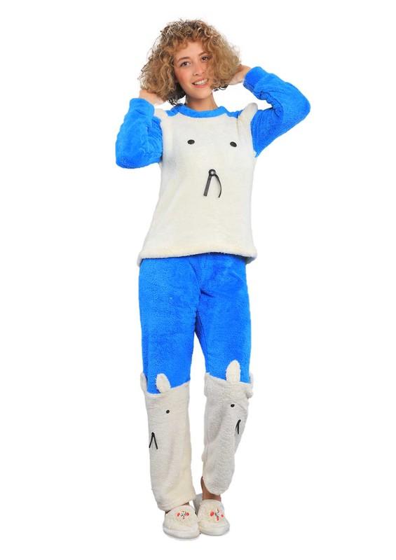 WESHA - Wesha Baskılı Yuvarlak Yakalı Welsoft Pijama Takımı 005 | Mavi