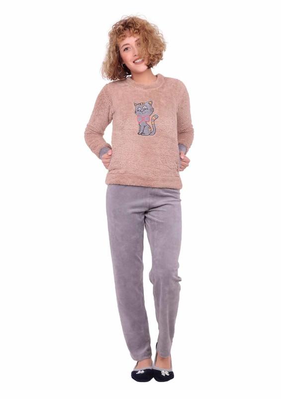 WESHA - Wesha Kedili Cepli Welsoft Pijama Takımı 004 | Kahverengi