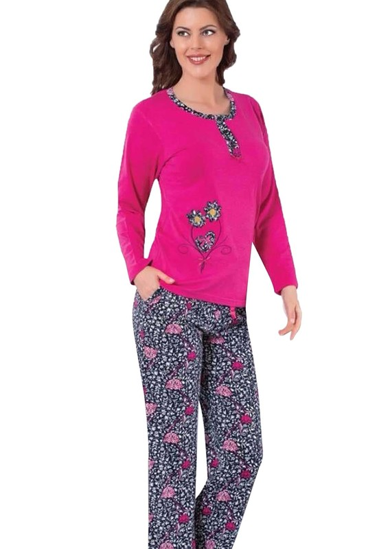 AKASYA - Yakası Düğmeli Çiçekli Pijama Takımı 5166 | Pembe