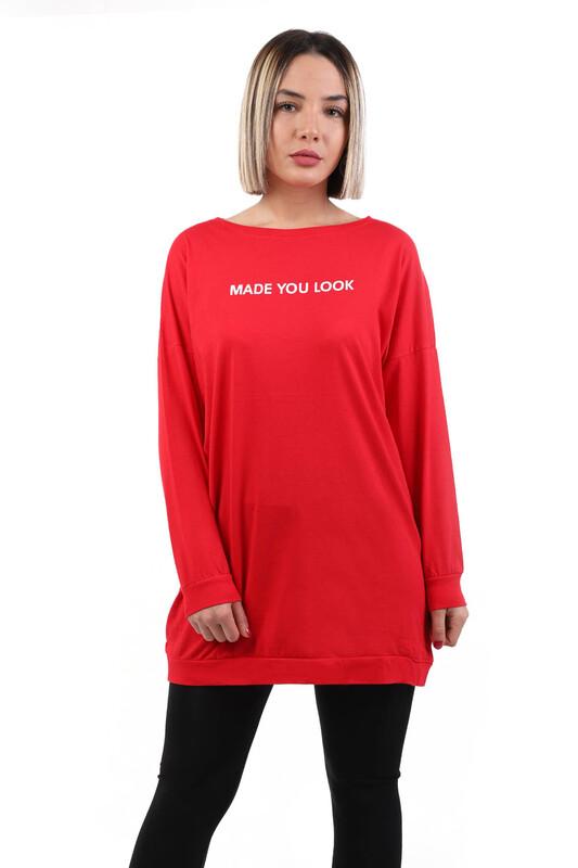SİMİSSO - Yazı Baskılı Uzun Kollu Kadın T-shirt | Kırmızı