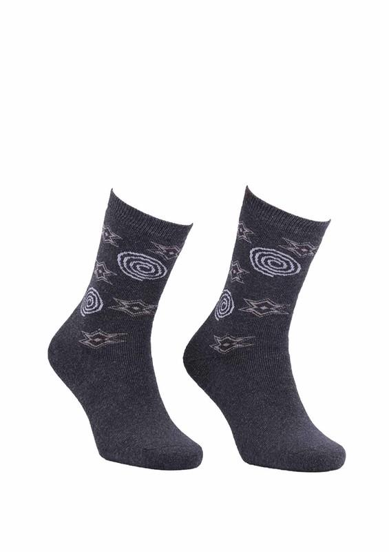 Modemo - Yıldız Desenli Havlu Çorap 2050   Füme