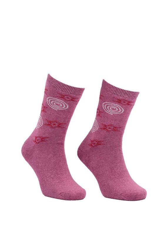Modemo - Yıldız Desenli Havlu Çorap 2050   Pembe