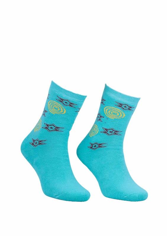Modemo - Yıldız Desenli Havlu Çorap 2050   Su Yeşili