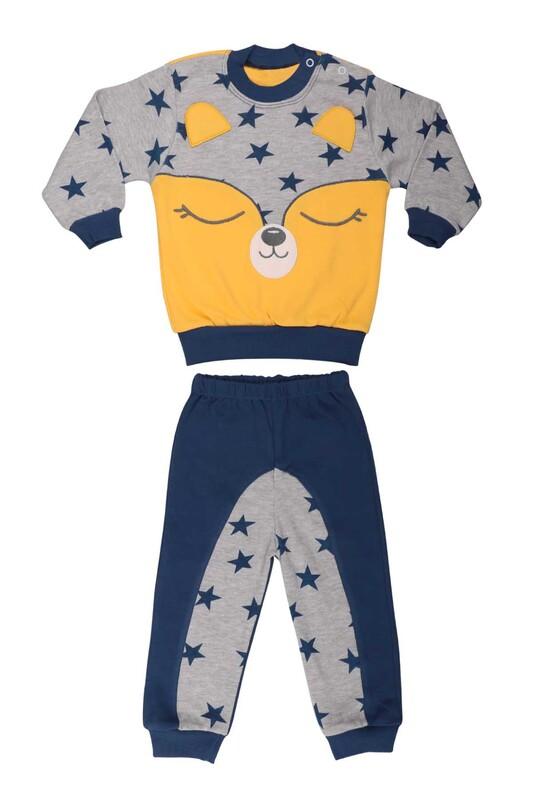 Nafitto - Yıldızlı Rakun Desenli Bebek Takımı 1234 | Lacivert