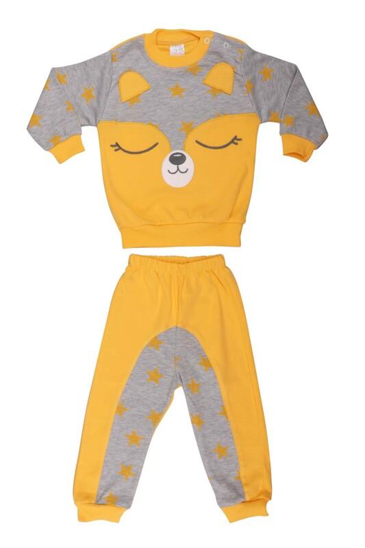 Nafitto - Yıldızlı Rakun Desenli Bebek Takımı 1234 | Sarı