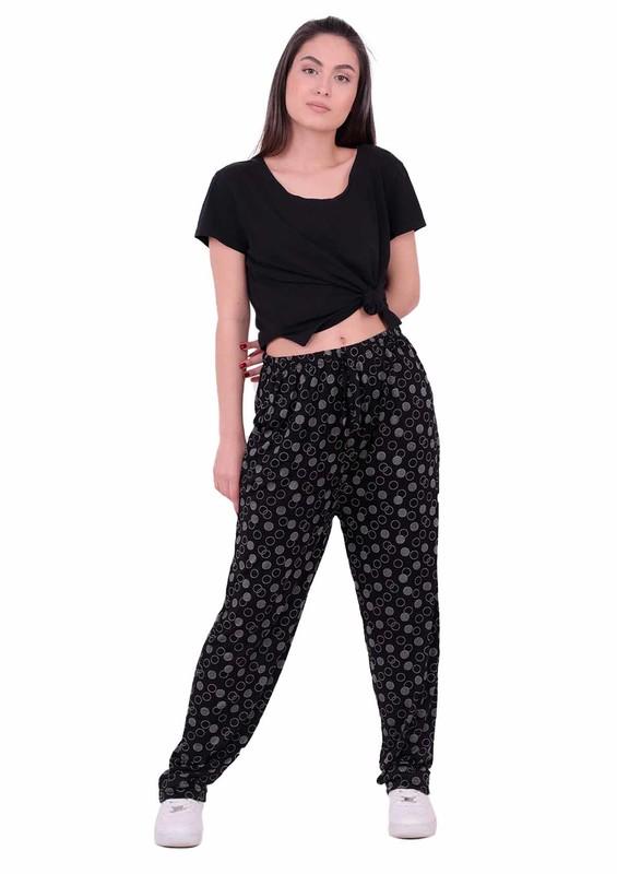 SİMİSSO - Yuvarlak Desenli Battal Viskon Pantolon | Siyah