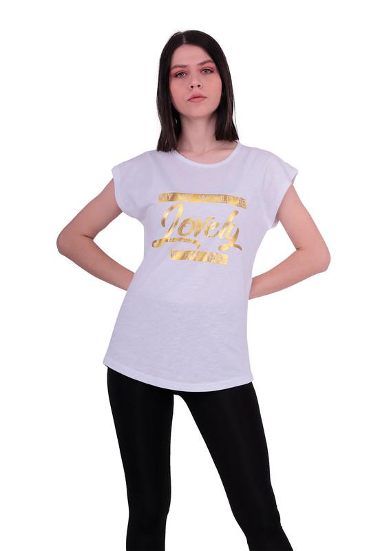 EMOLA - Yuvarlak Yakalı Yazılı T-Shirt 101 | Beyaz