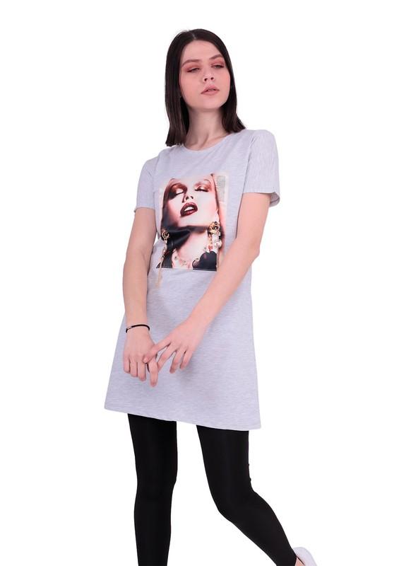 NARSACE - Narsace Yuvarlak Yakalı Baskılı Taşlı T-Shirt 200 | Gri