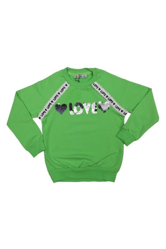 ALG - Yuvarlak Yakalı Pullu Kız Çocuk Sweat 69572   Yeşil