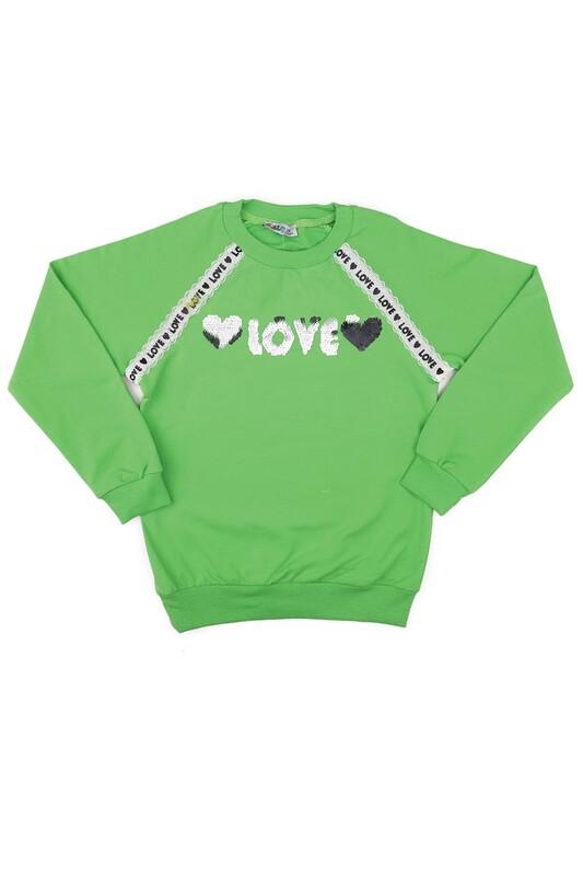 ALG - Yuvarlak Yakalı Pullu Kız Çocuk Sweat 79572   Yeşil