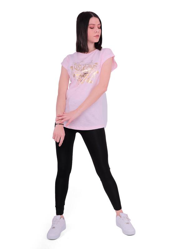 EMOLA - Yuvarlak Yakalı Sıfır Kollu Desenli T-Shirt 103 | Pembe