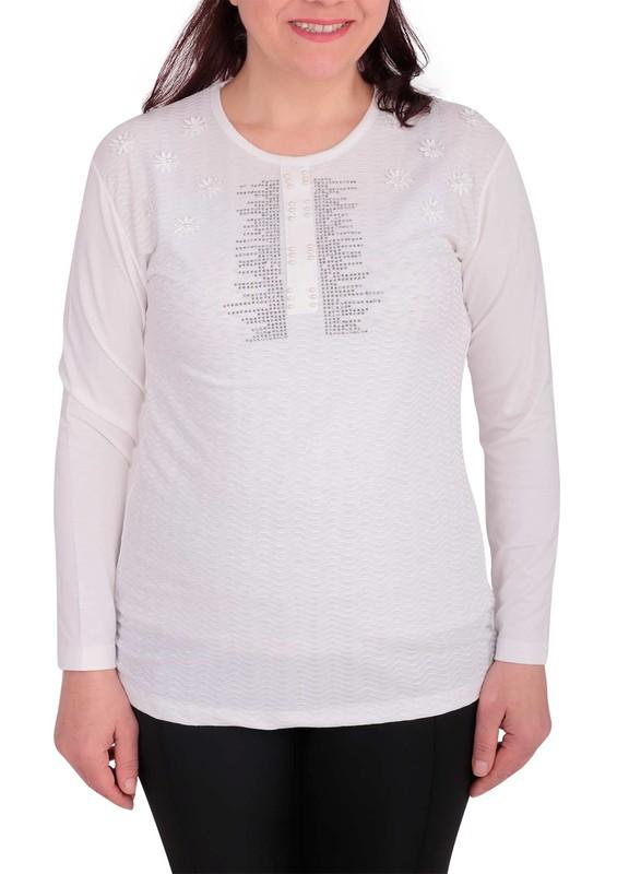 GAMZEY - Yuvarlak Yakalı Yakası Çiçek ve Taşlı Bluz 021   Beyaz