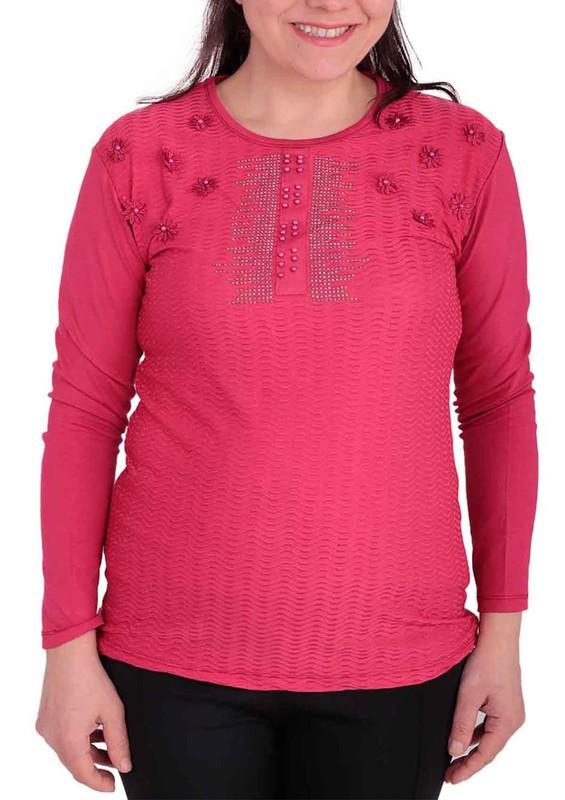 GAMZEY - Yuvarlak Yakalı Yakası Çiçek ve Taş Desenli Bluz 021 | Fuşya