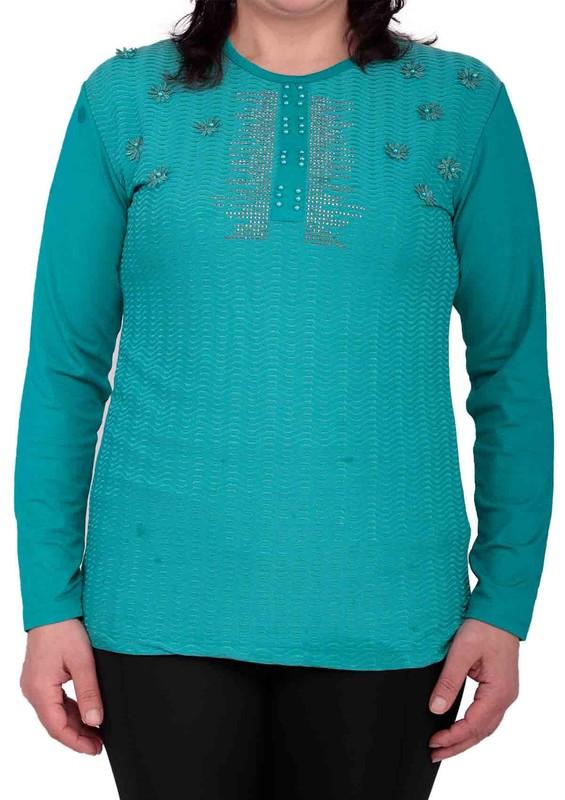 GAMZEY - Yuvarlak Yakalı Yakası Çiçek ve Taş Desenli Bluz 021 | Mavi
