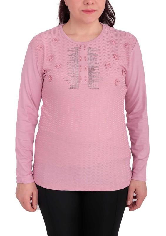 GAMZEY - Yuvarlak Yakalı Yakası Çiçek ve Taş Desenli Bluz 021 | Pudra