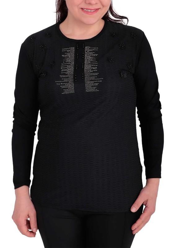 GAMZEY - Yuvarlak Yakalı Yakası Çiçek ve Taş Desenli Bluz 021 | Siyah